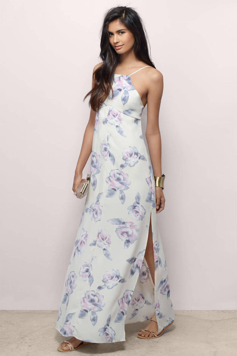 Watercolor Lover Cream Floral Maxi Dress