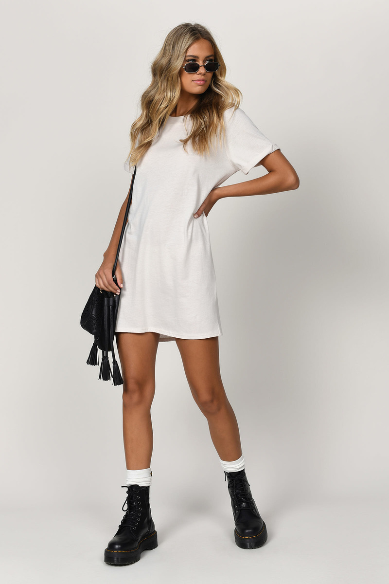 bdd3cf50b929 White T Shirt Dress - Simple T Shirt Dress - White Short Sleeve ...