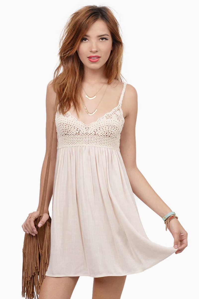 Go For It Cream Crochet Shift Dress