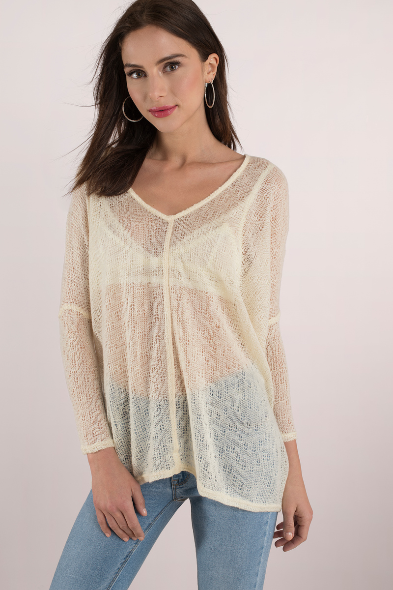 Cute Cream Sweater - Cream Tunic Top - Knitted Sweater - Cream ...