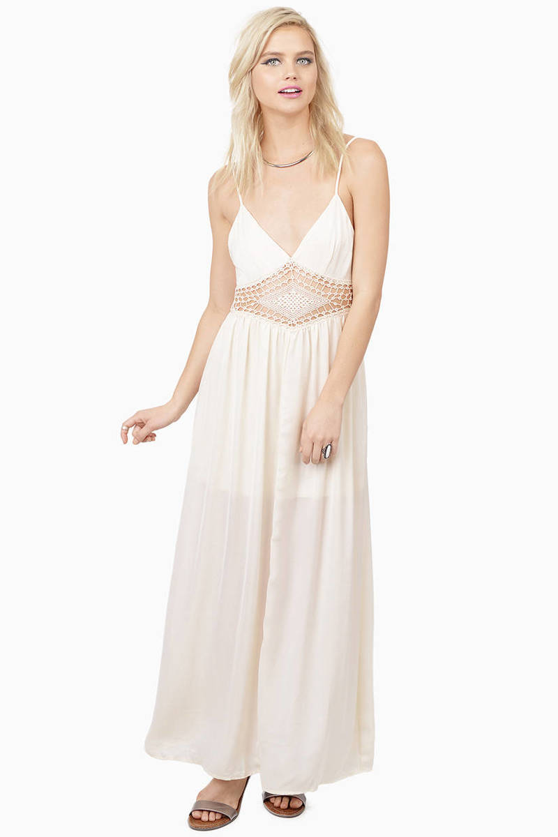 In A Dream Cream Crochet Maxi Dress