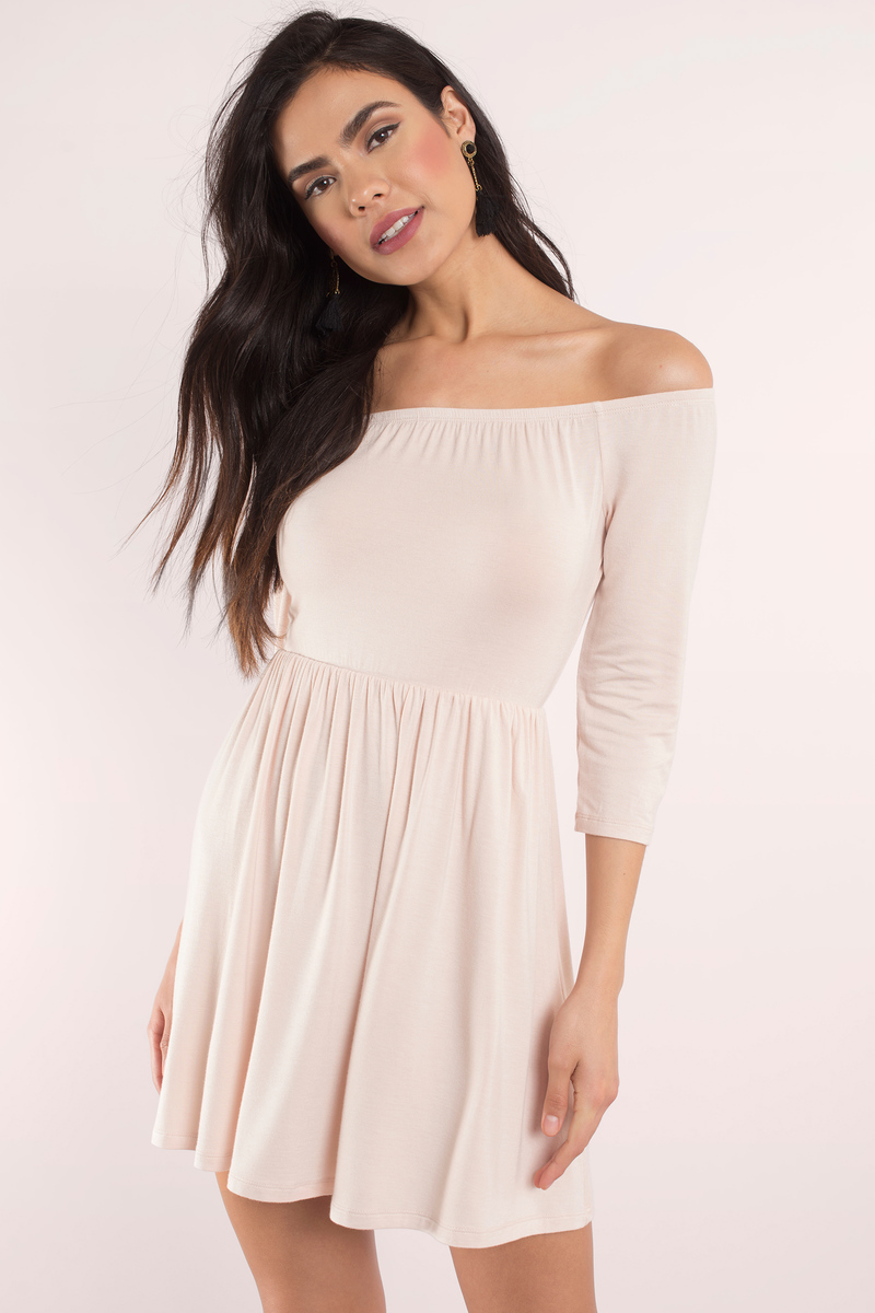78cbbf890b4 Nude Skater Dress - Off The Shoulder Dress - Day Dress -  10