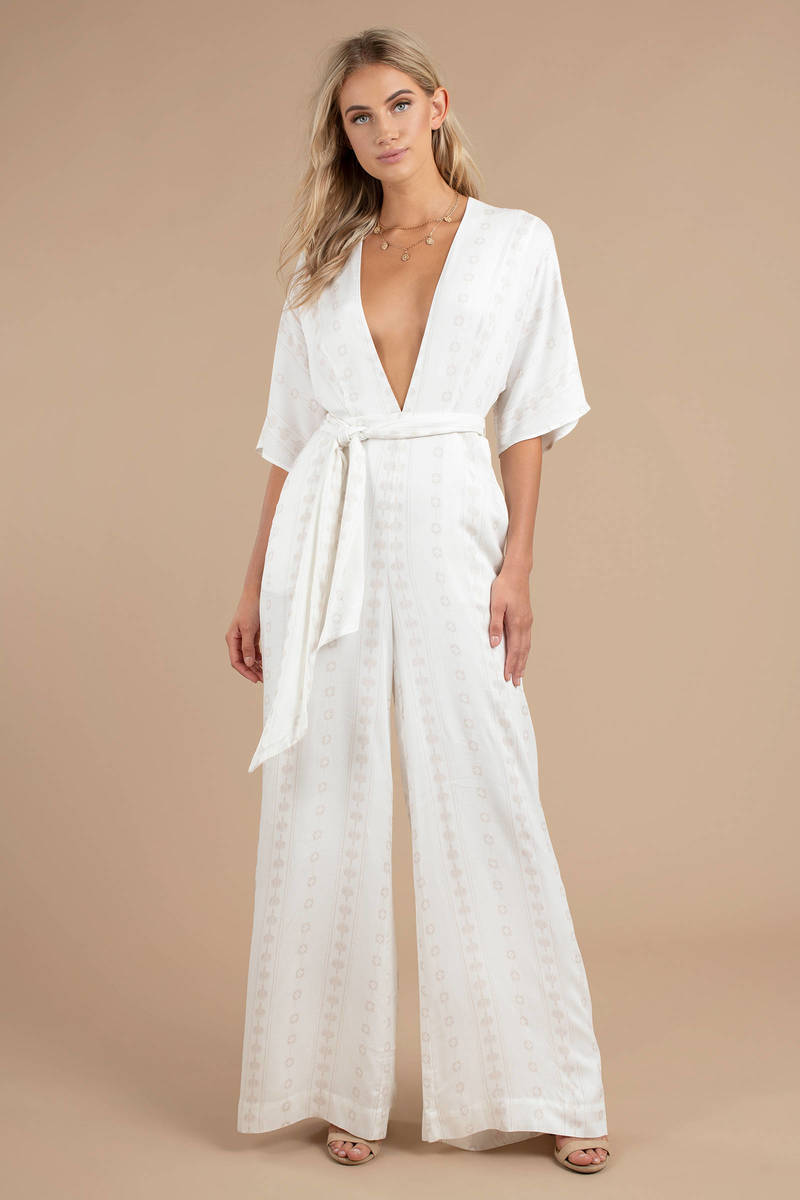 2aebe9406499 White The Jetset Diaries Jumpsuit - Plunge Neck Jumpsuit - White ...