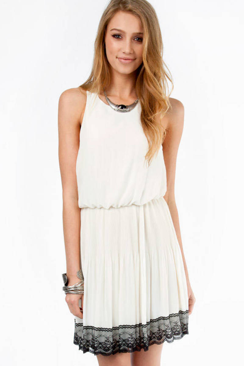 Lace Trim Flowy Dress