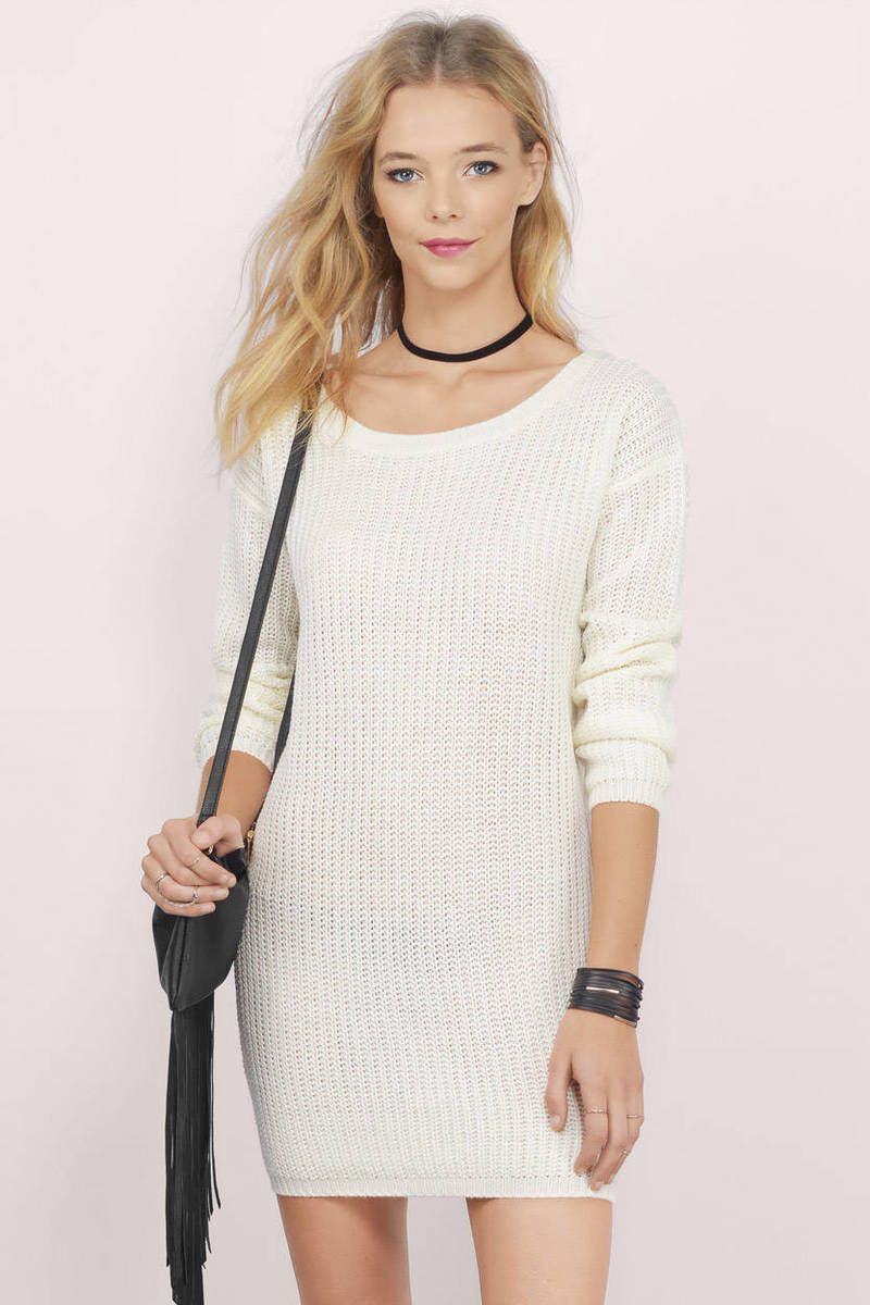Laid-Back Navy Ribbed Sweater Dress