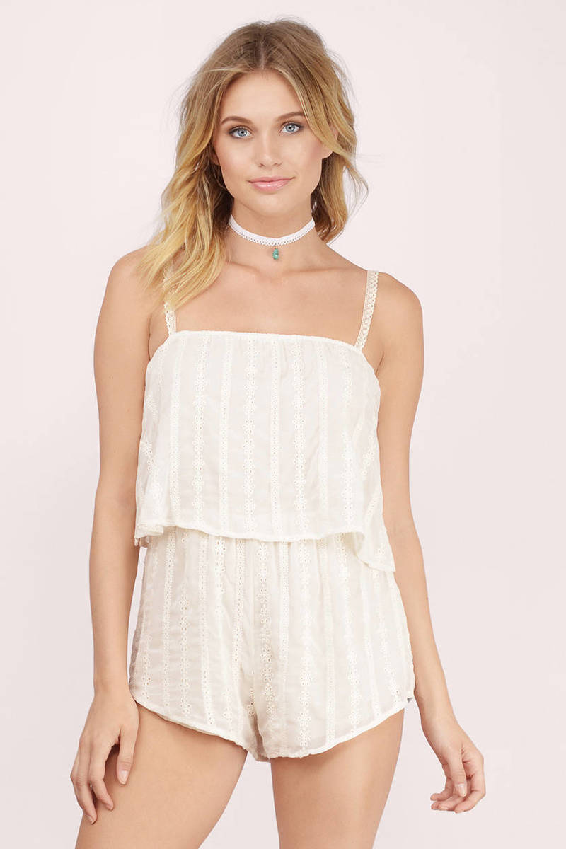 Lay It Back Cream Striped Romper