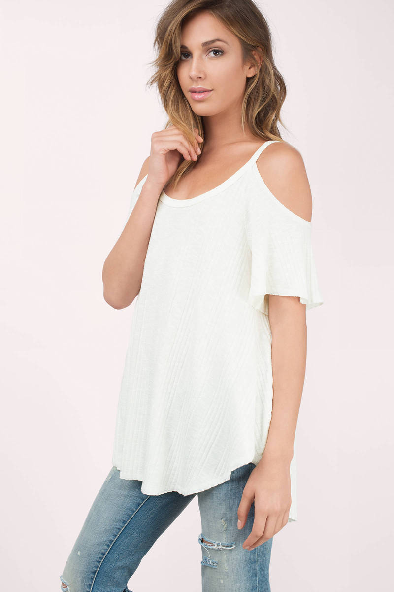 487ac3050d0c76 Cream Basic Top - White Top - Cold Shoulder Top - S  63