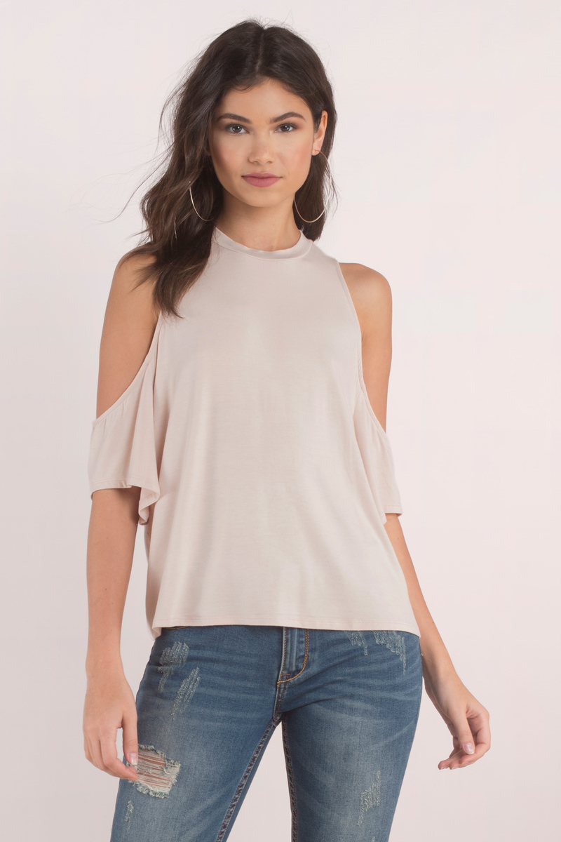 57bd40e24b109 Cream Blouse - Cold Shoulder Blouse - Half Shoulder Tops -  5
