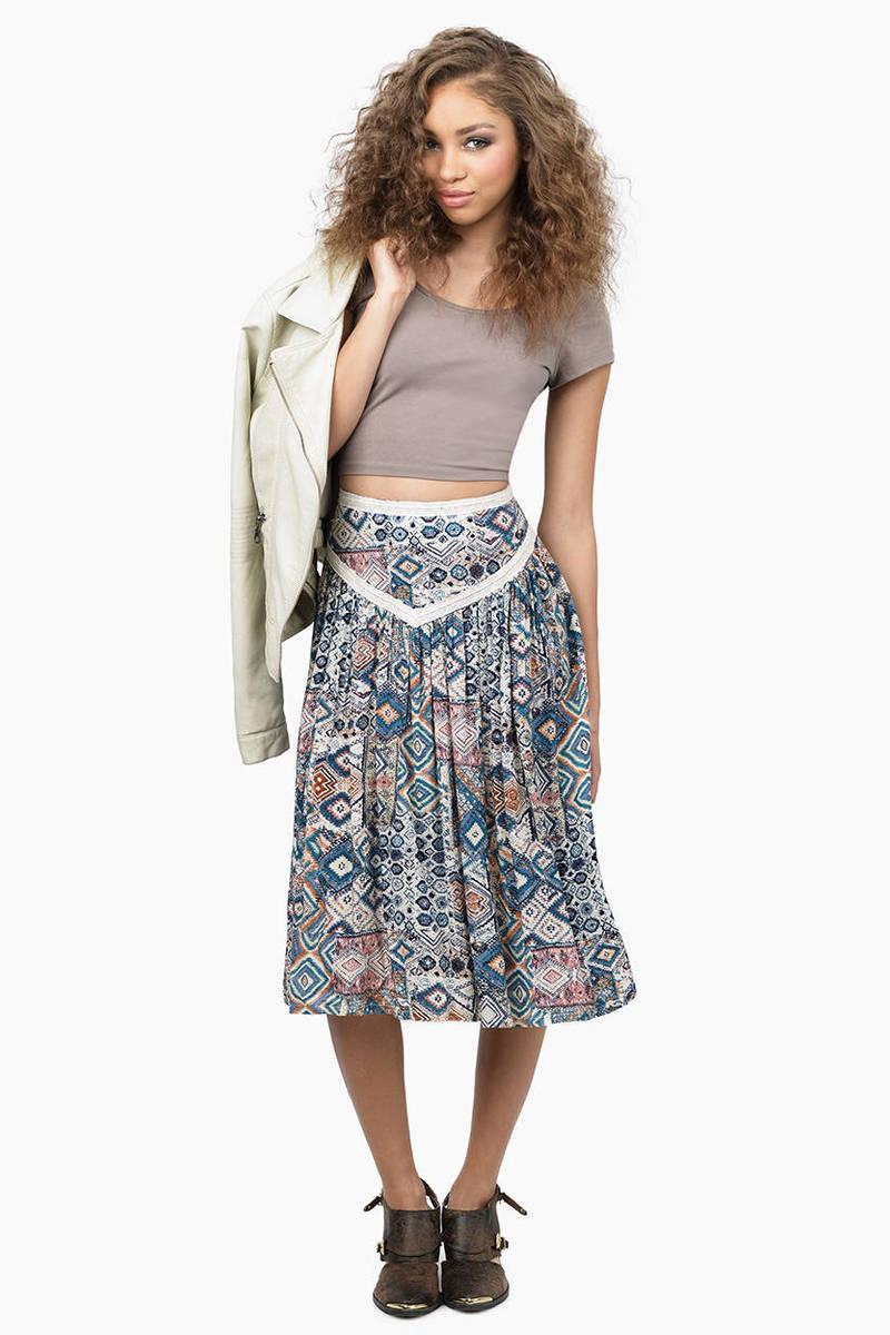 Return Home Cream Multi Midi Skirt