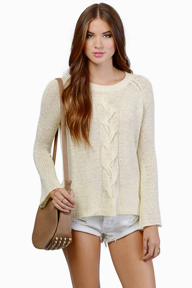 Cute Cream Sweater - Bell Sleeve Sweater - Cream Sweater - $15 ...