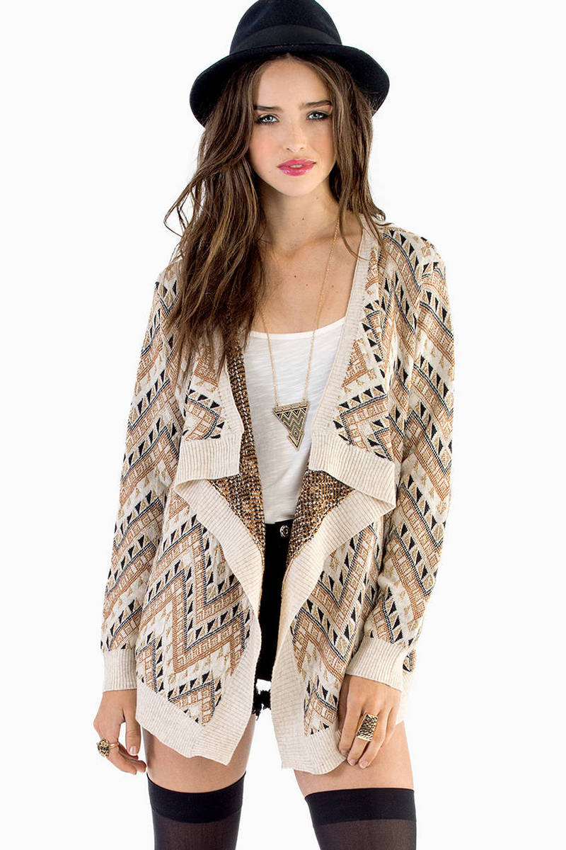 No Trouble With Tribal Cream Cardigan