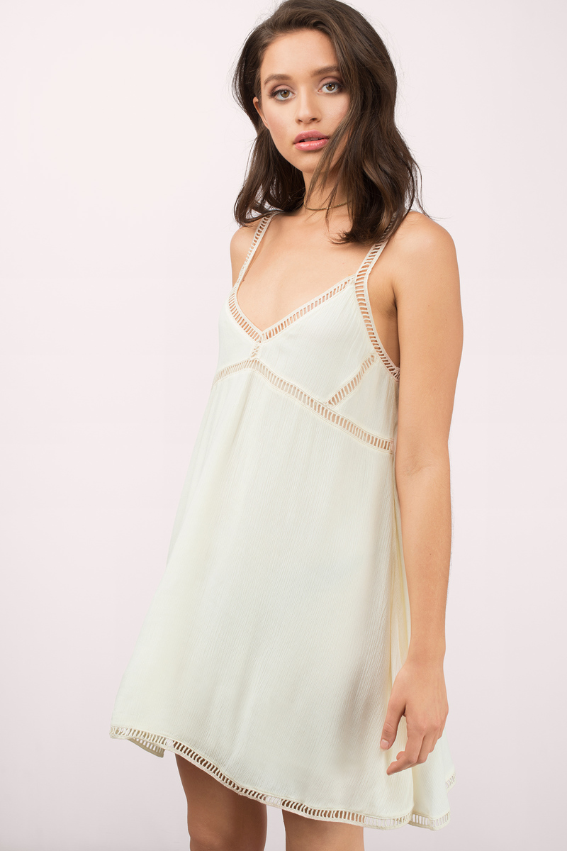 c89f3ced1 Cream Dress - Ladder Trim Dress - Long Babydoll Dress - Shift Dress ...
