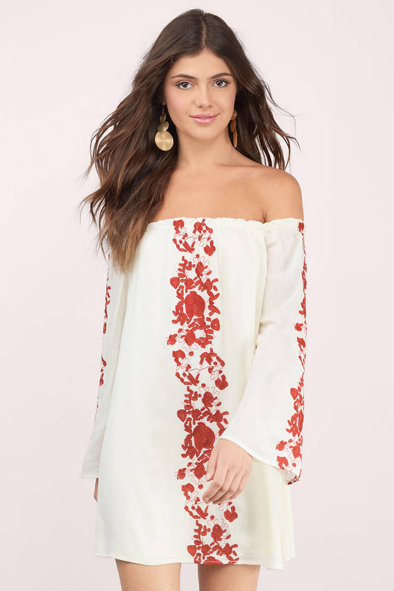 33faebb7fb6534 Cream & Rust Dress - Off Shoulder Dress - White Embroidered Top ...