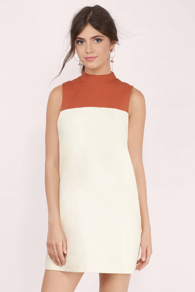 Take Over Cream & Rust Shift Dress