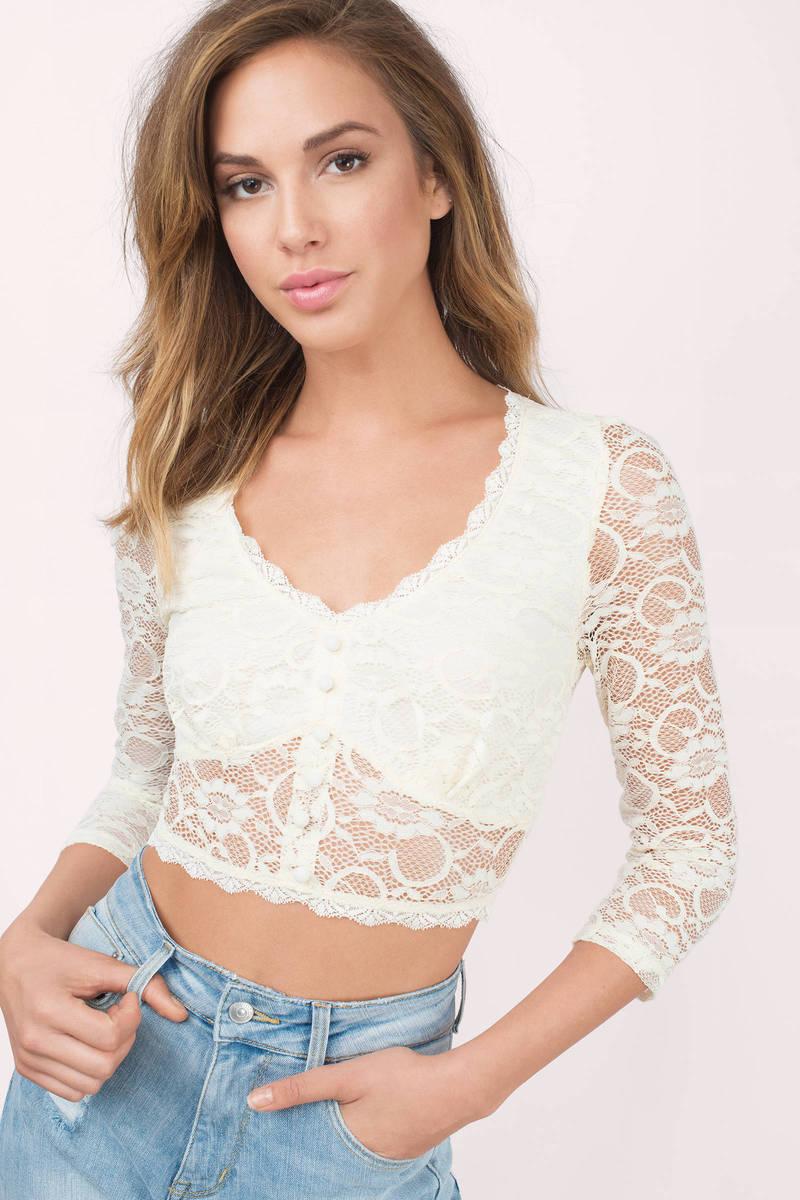 Rylee Cream Lace Crop Top