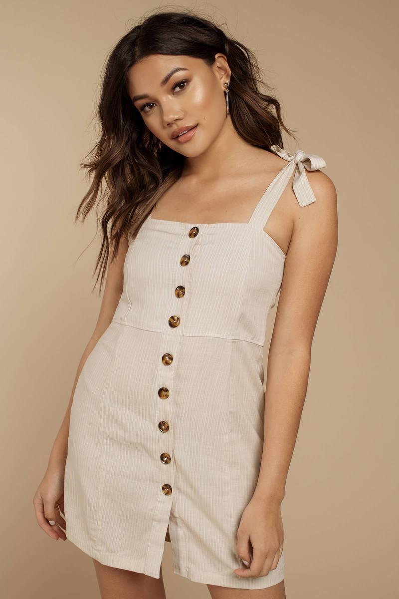 b84b2688c0 Rove Sia Cream Front Button Shift Dress - $142 | Tobi US