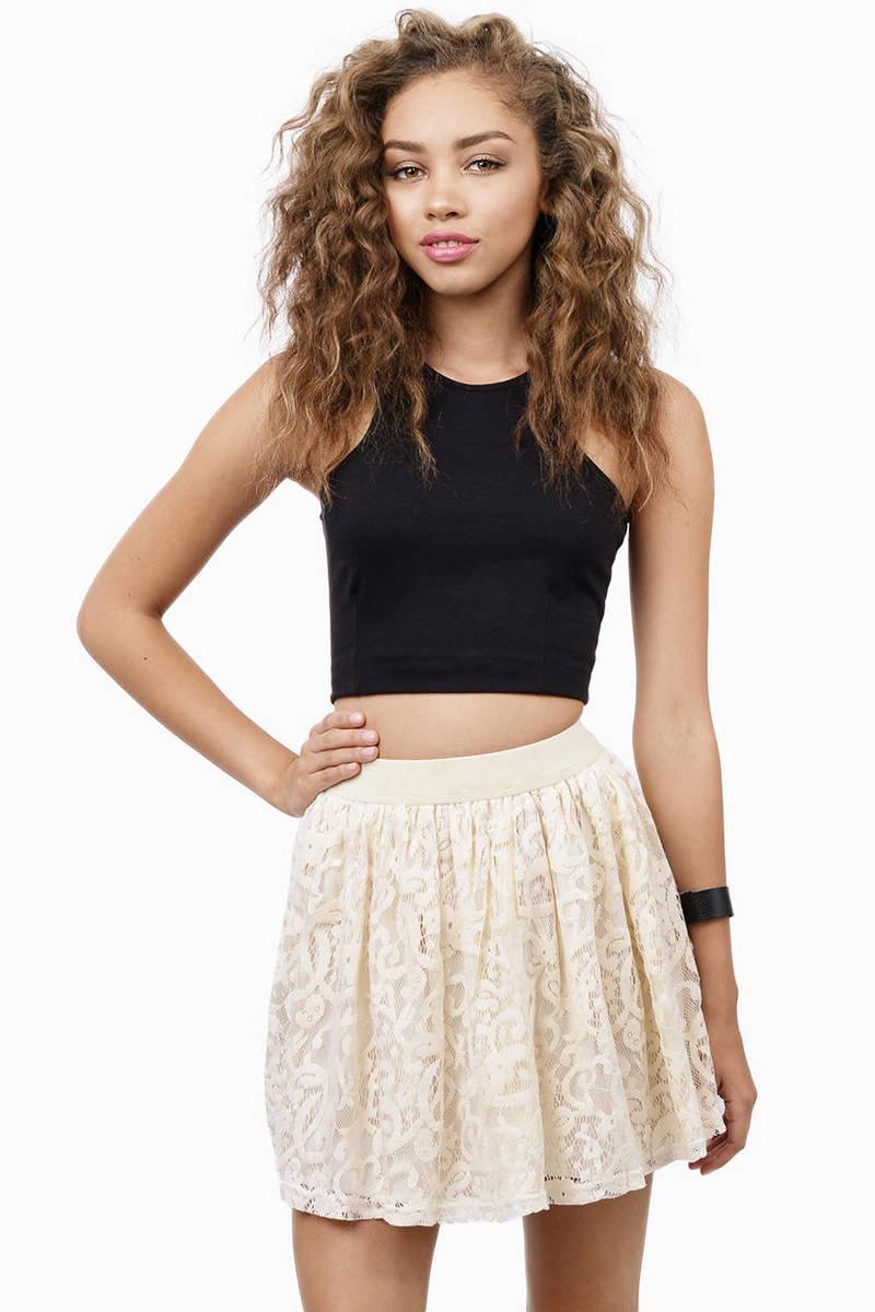 Skaterade Cream Lace Skater Skirt