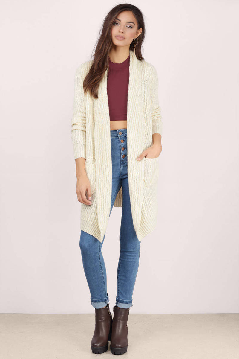Cream Cardigan - Long Sleeve Cardigan - Cream Sweater - $17 | Tobi US