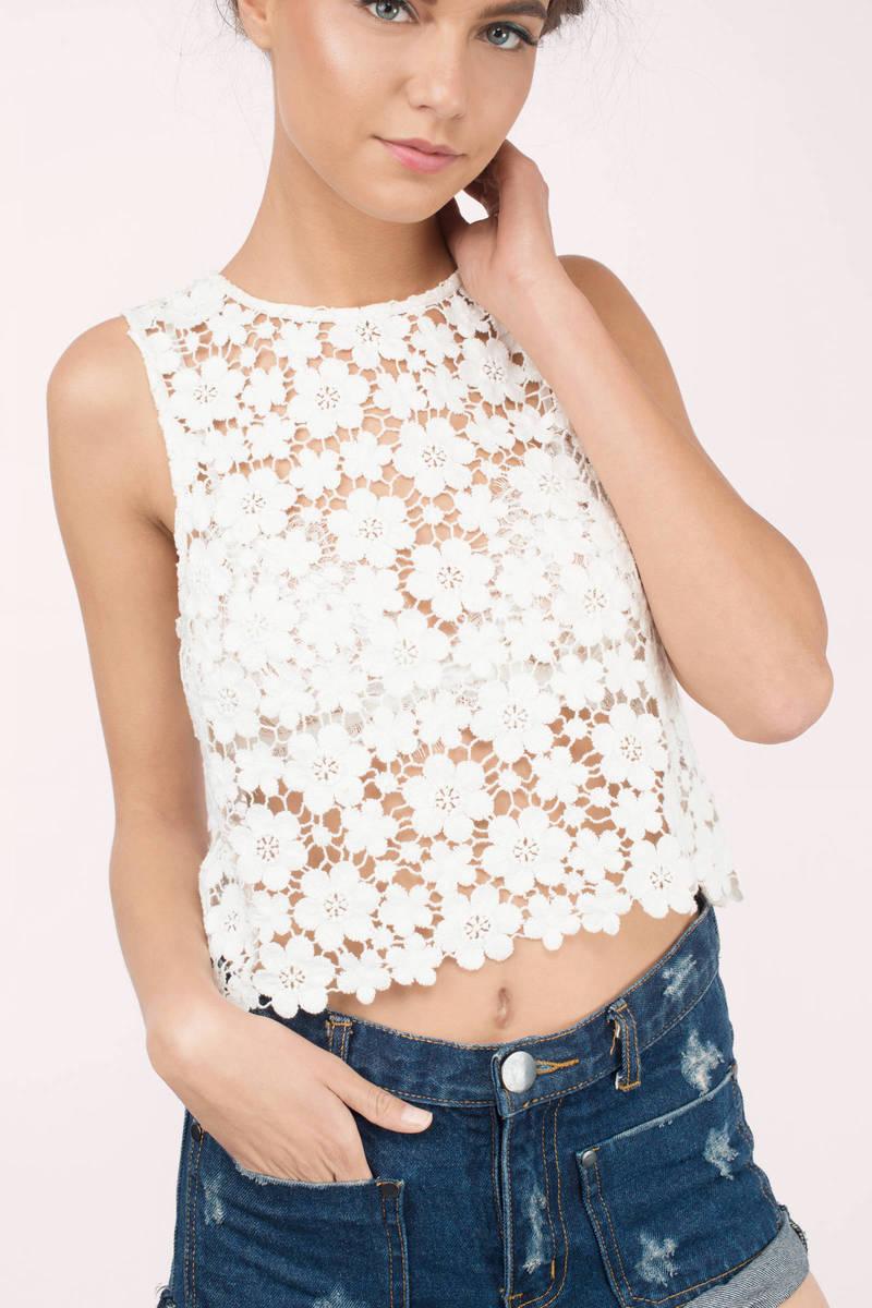 So Lucky Cream Floral Crochet Shift Top