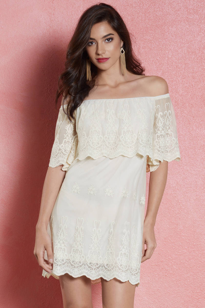 a1a4f099a423 White Shift Dress - Lace Overlay Dress - Elegant White Dress -  31 ...