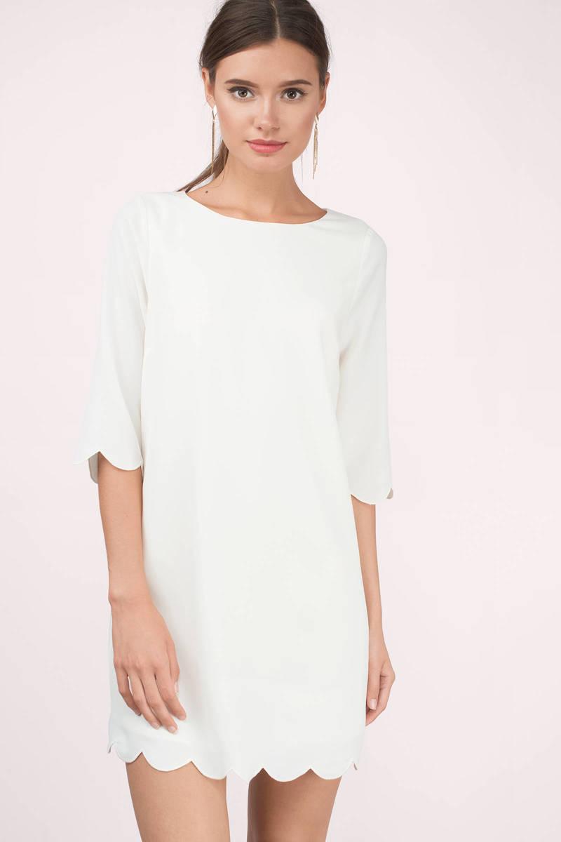 a30dec04c19e Trendy Cream Shift Dress - Scalloped Dress - Half Sleeve Cream Dress ...
