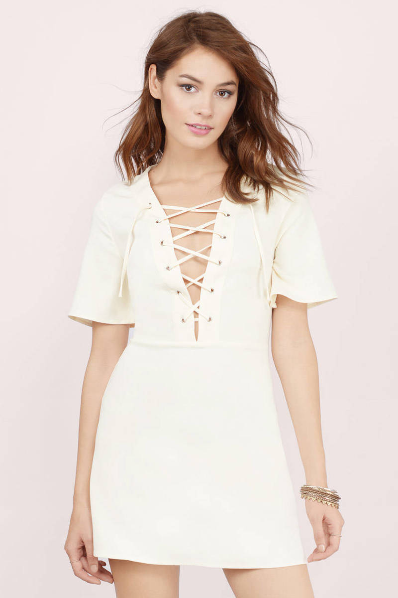 Tied Down Cream Lace Skater Dress