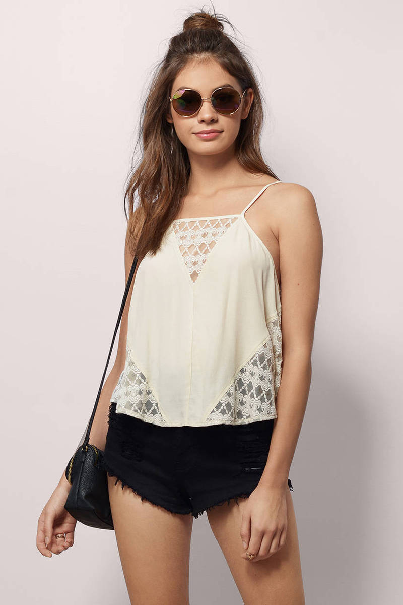 Under The Sun Peach Lace Tank Top