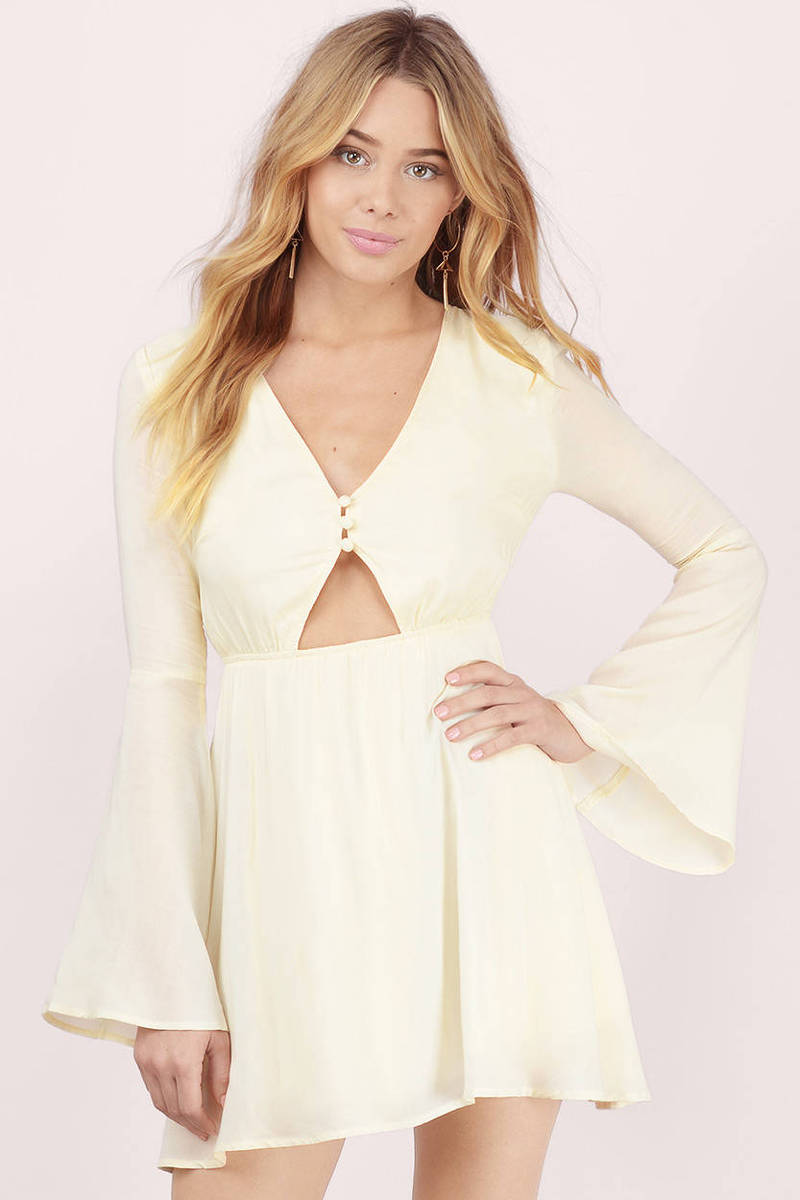 Up My Sleeve Cream Skater Dress