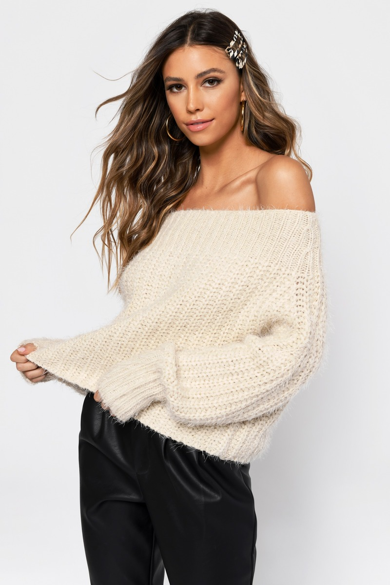 White Sweater Fuzzy Sweater White Off The Shoulder Sweater 46