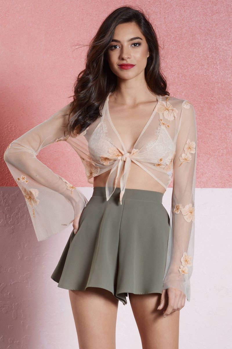 Young And Beautiful Cream Sheer Crop Top