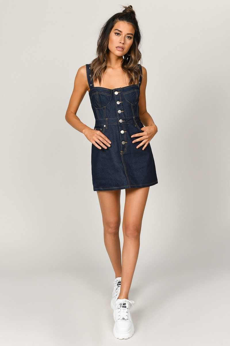 d93777e925f7 Dark Wash Denim Dress - Bustier Dress - Dark Wash Belted Strap Dress ...
