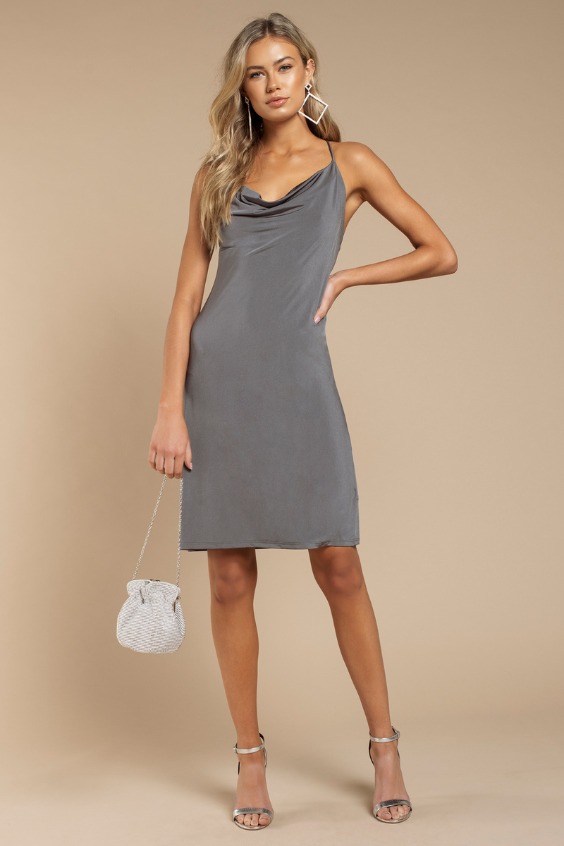 Mary Dark Grey  Solid Bodycon Dress