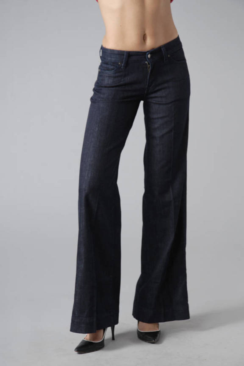 novel style select for official enjoy best price Garbo Stretch Mid-Rise Wide Leg Jeans in Dark Paris