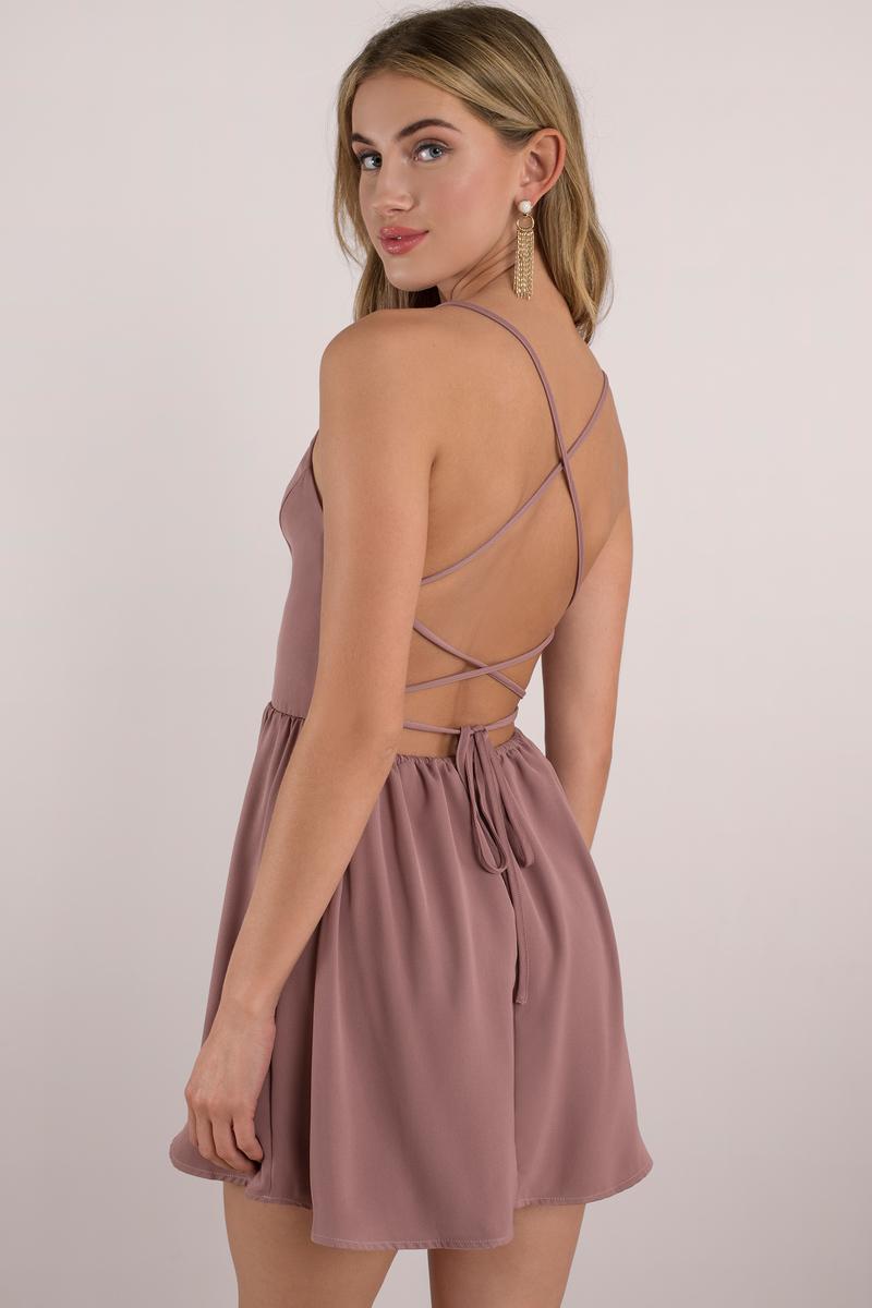 Dark Rose Skater Dress - Open Back Dress - Pink Dress - Pink Flare ...