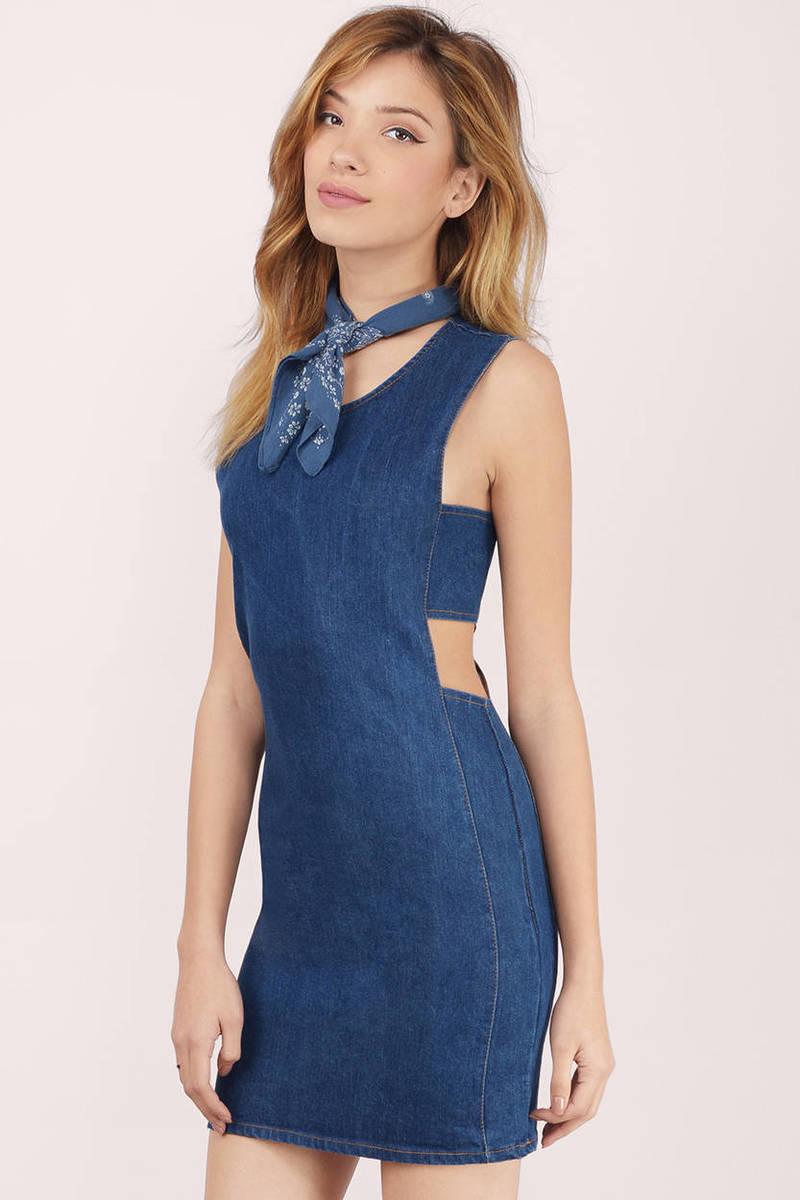 Alize Dark Wash  Denim Bodycon Dress