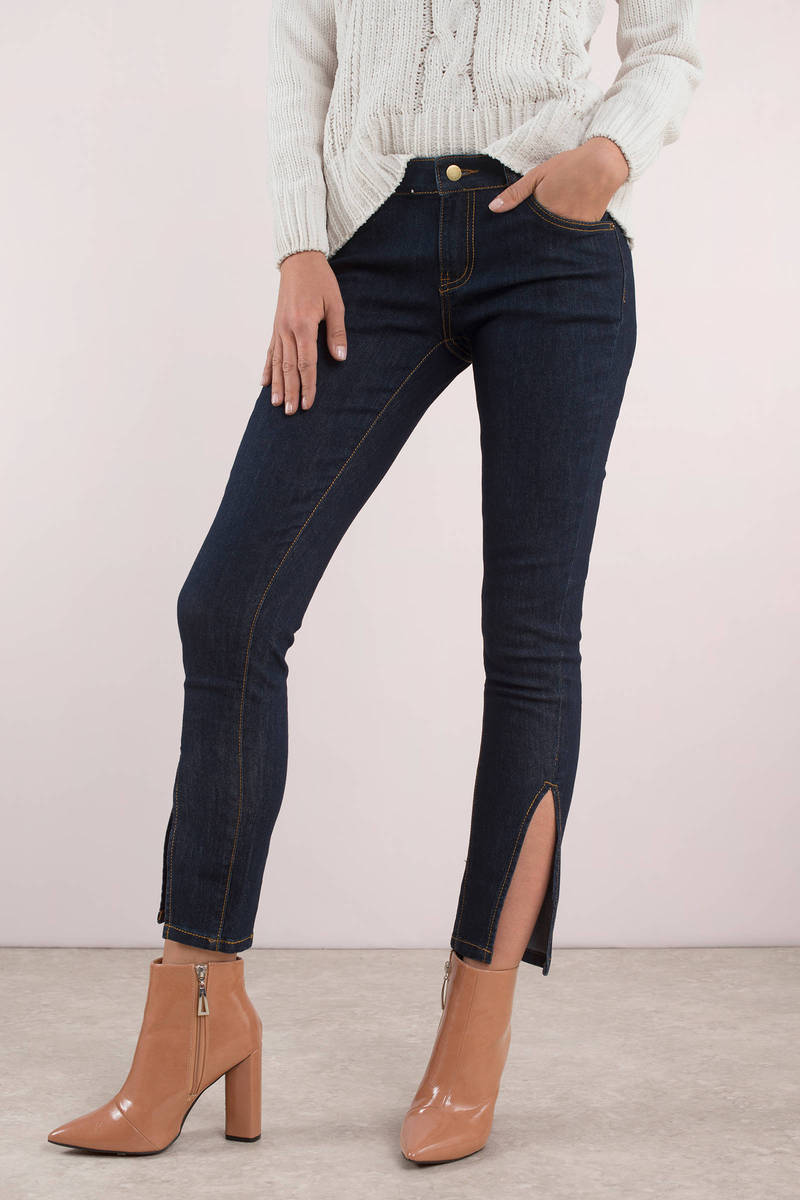 18390c6dc1 Blue Lioness Jeans - Slit Jeans - Blue Dark Wash Skinny Jeans - £45 ...