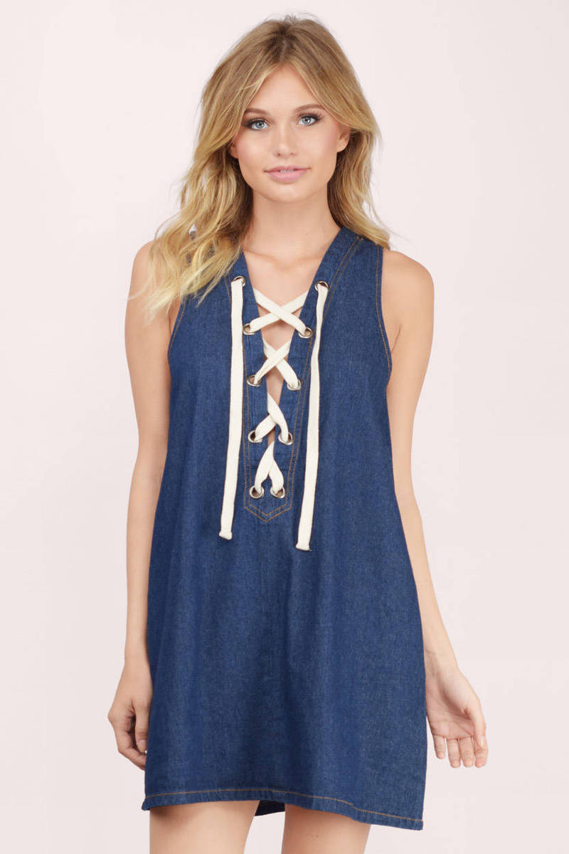 Denim Daze Dark Wash Denim Shift Dress