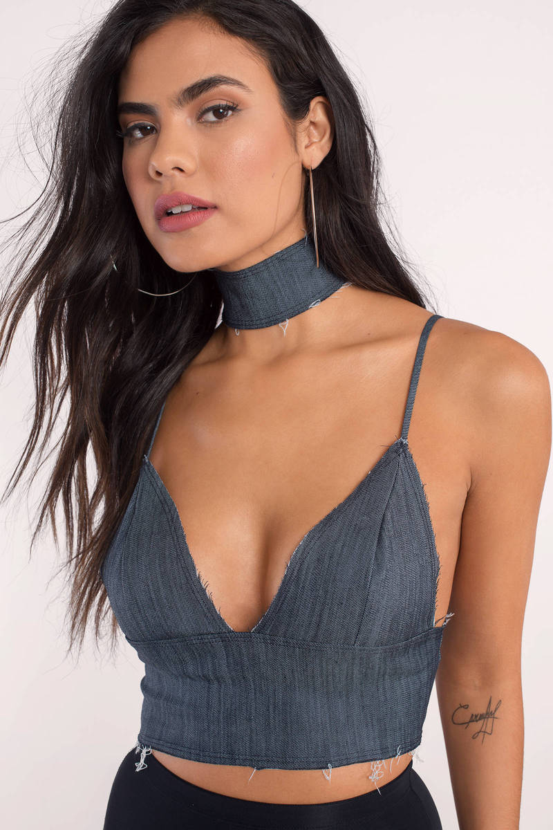 Show It Off Dark Wash Choker Crop Top