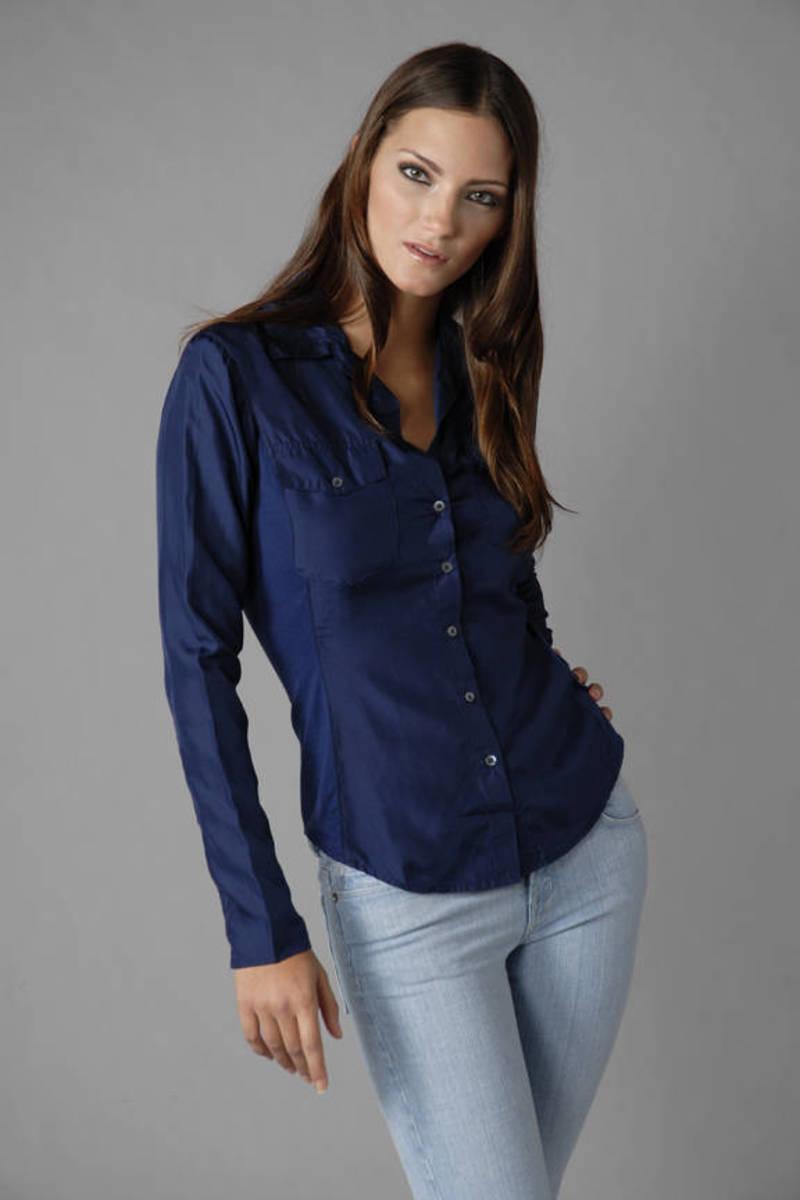 6716037b9631d Lovely Blue James Perse Shirt - Fitted Blouse - Navy Blue Shirt ...