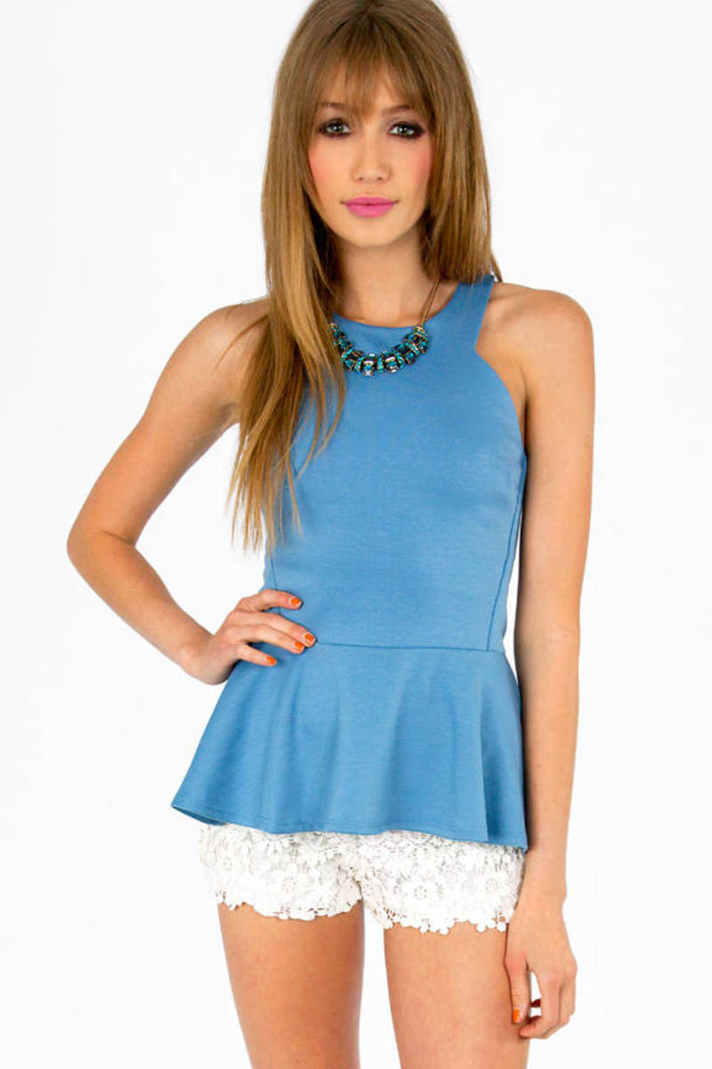 Angle Cut Peplum Top