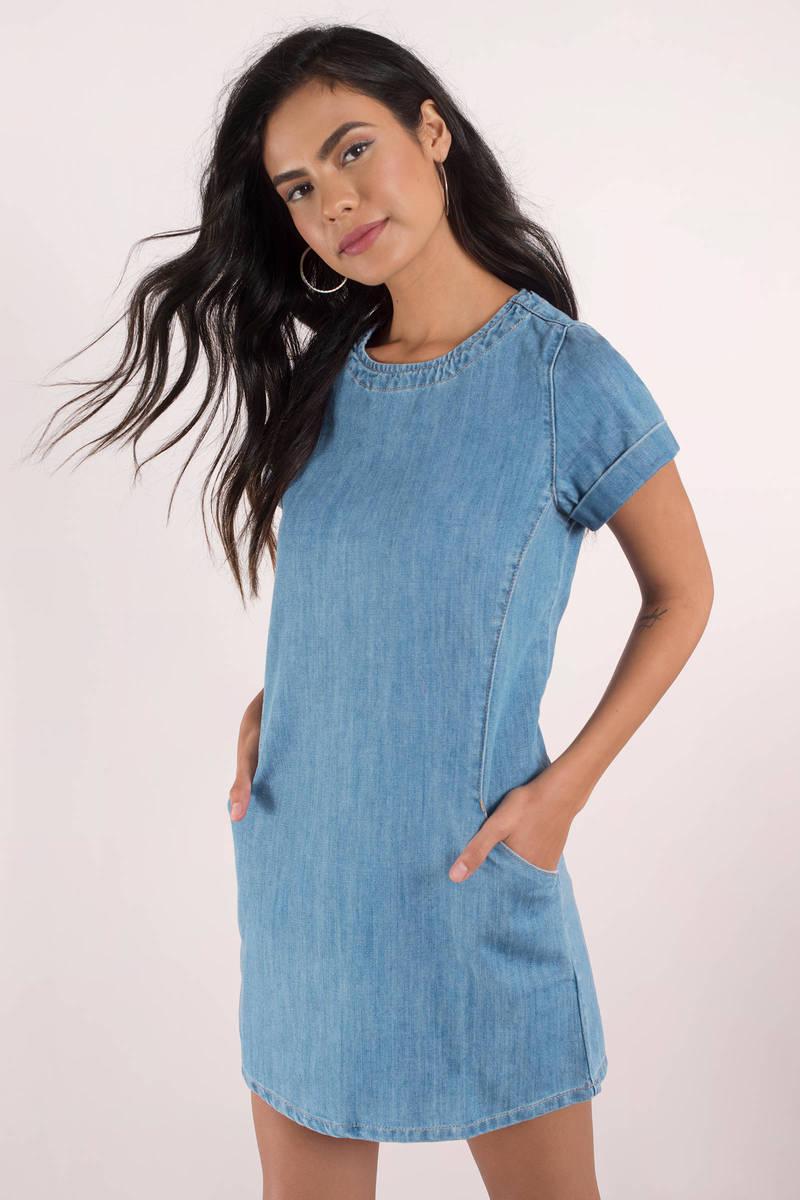 74bb1b5ca8 Chic Blue Shift Dress - Casual Dress - Blue Sleeved Dress - Denim ...