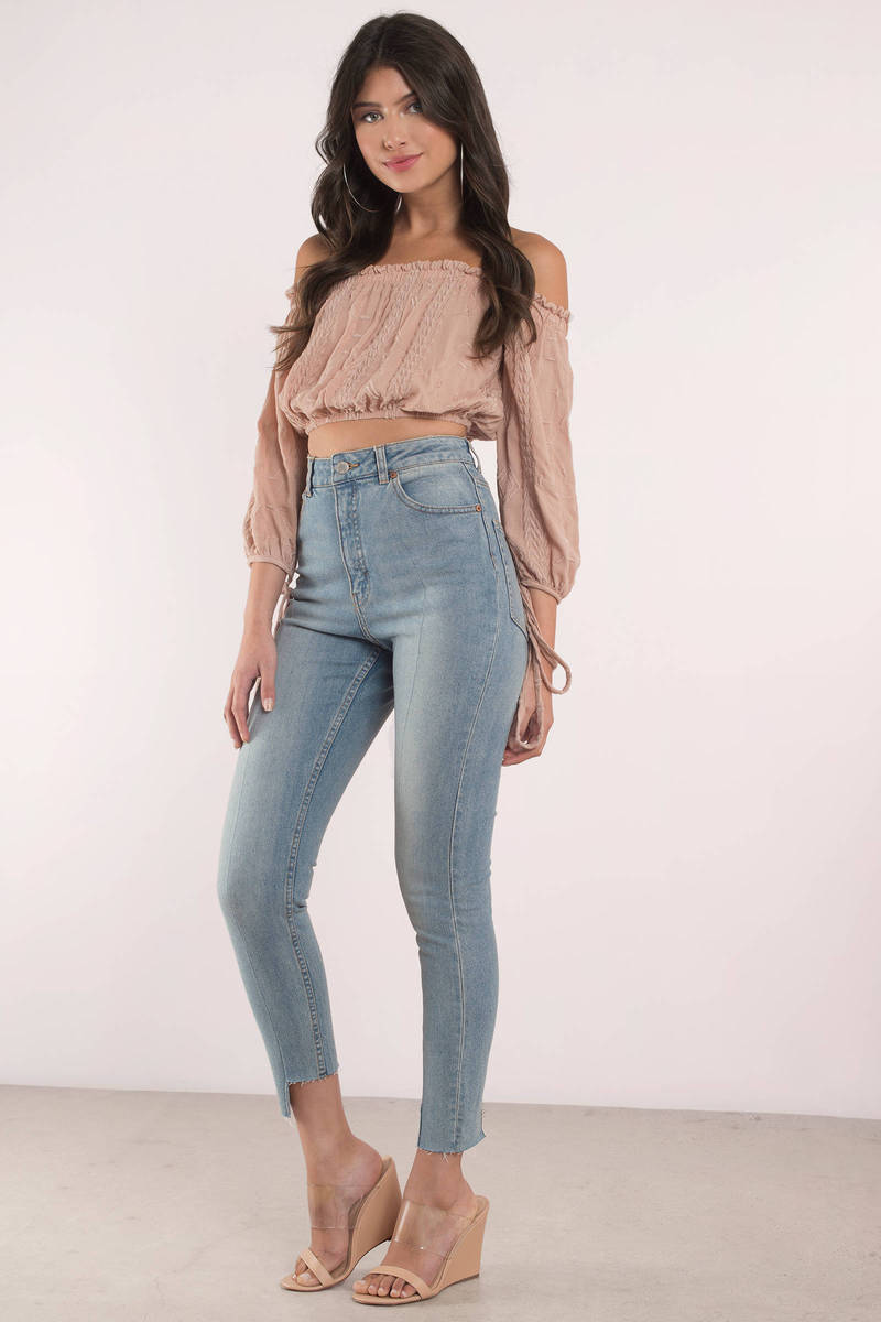 fdec0cb9022d Cute Medium Wash Jeans - High Waisted Jeans - Blue Jeans -  53