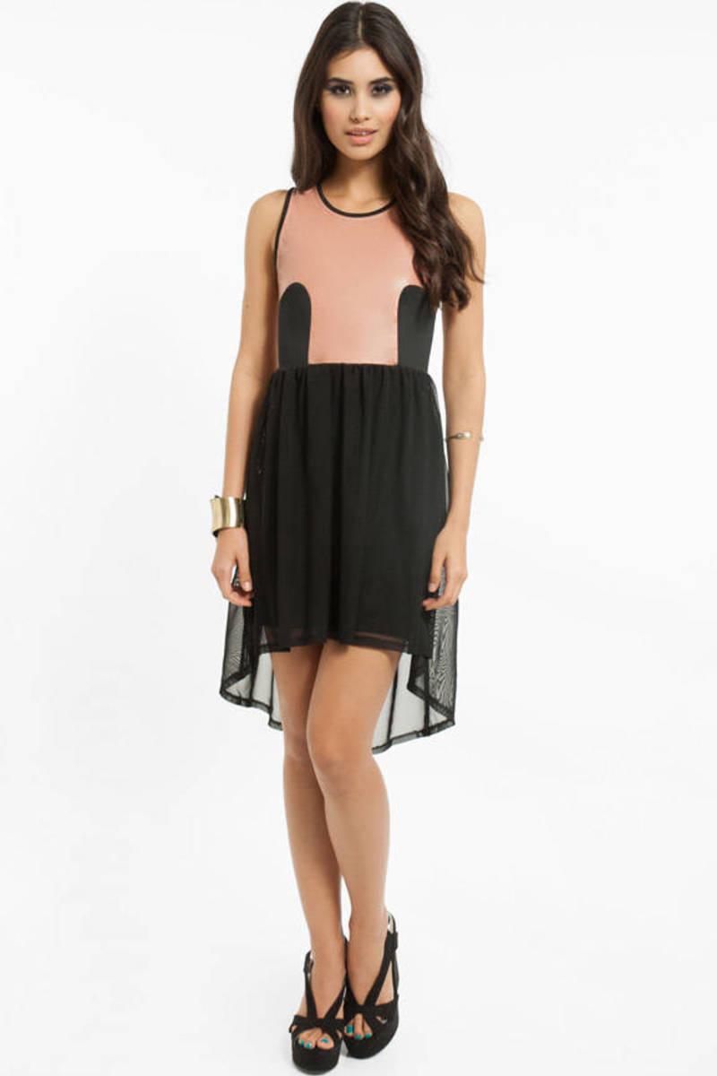 Mod Racer Dusty Pink And Black High Neck Sleeveless Shift Dress