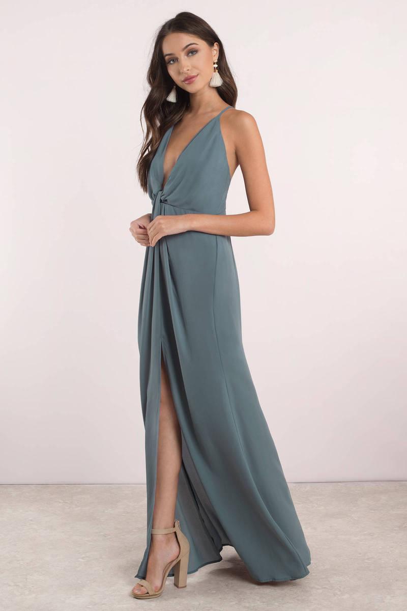 Cute Dusty Teal Dress - Front Slit Dress - Cross Back Dress - $39 ...