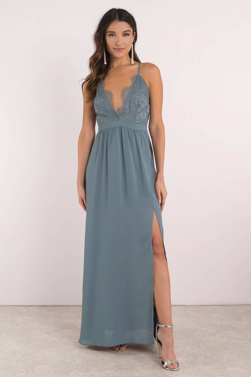 Opposites Attract Dusty Teal Lace Maxi Dress - $72 | Tobi US
