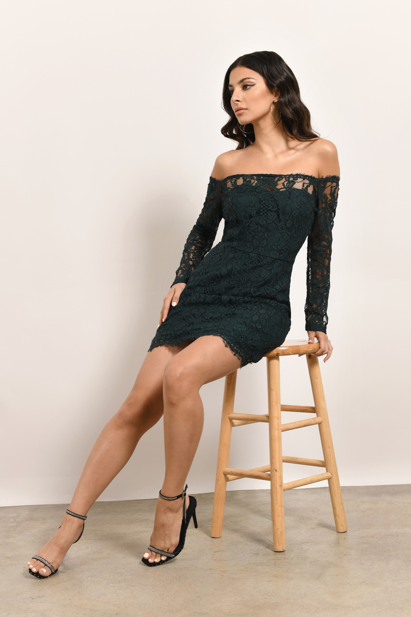 4479377ba48 Green Dress - Off Shoulder Lace Dress - Green Floral Dress -  31 ...