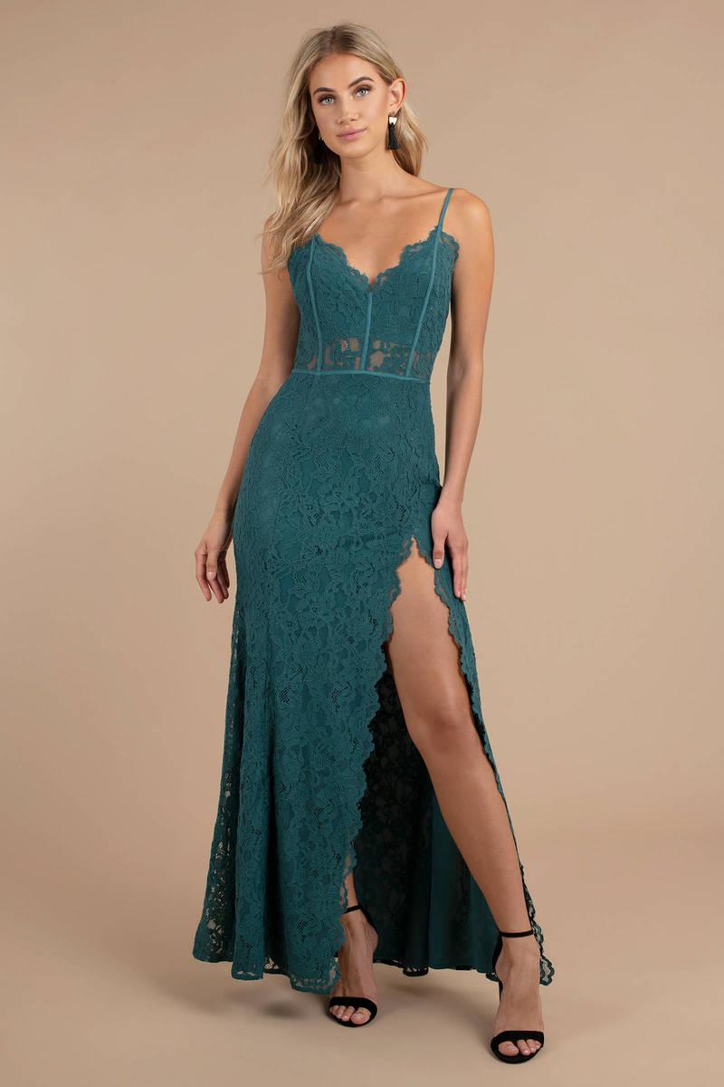 Delaney Side Slit Lace Maxi Dress