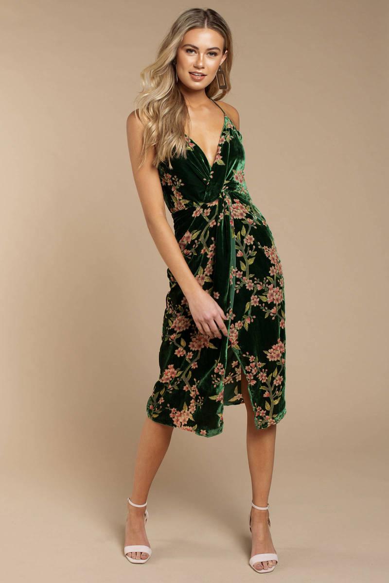 0b5f5c1b35 Joa Jennie Emerald Front Twist Midi Dress -  98