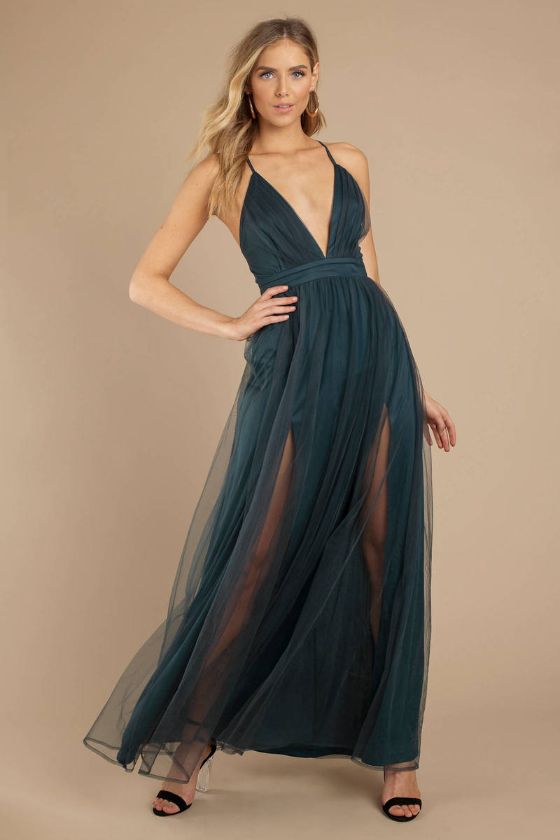 d2b0b616f6da Emerald Green Maxi Dress - Pleated Tulle Dress - Emerald Green Ball ...