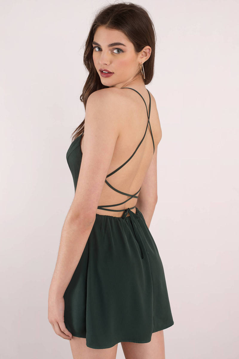 a12d84adc6 Emerald Skater Dress - Open Back Dress - Green Dress - Green Flare ...